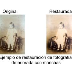 Antes y después fotografía deteriorada por ruido y manchas
